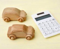 木の車と電卓